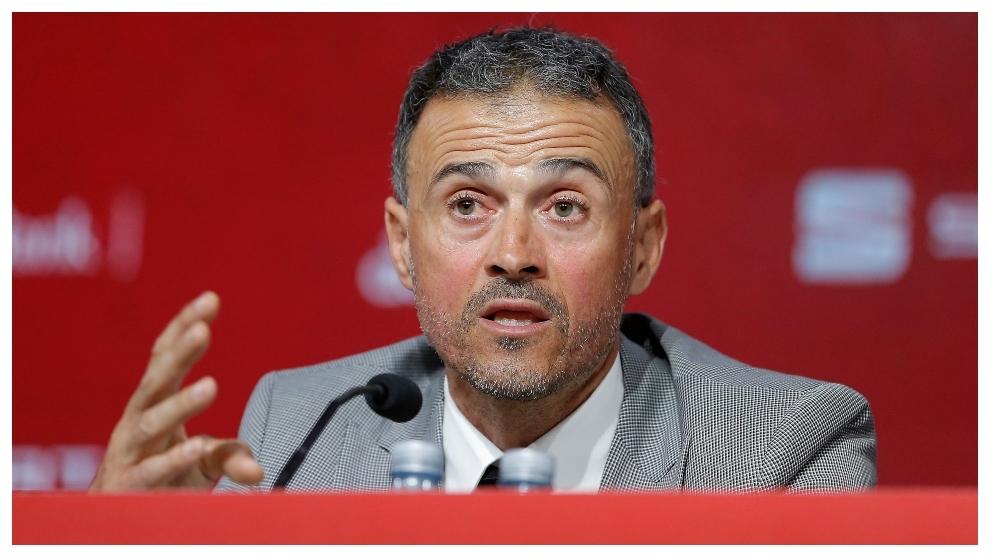 Luis Enrique during a press conference.