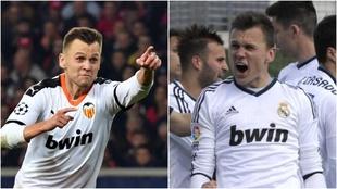 Cheryshev en dos imágenes en las que celebra goles con el Valencia y...
