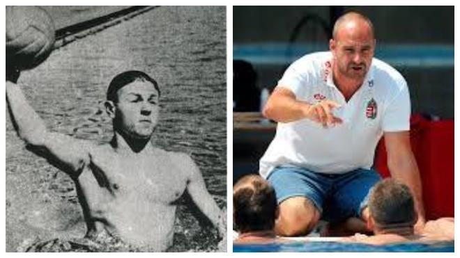 ,Gyorgy Karpati en su etapa como jugador y Tibor Benedek, ya como...