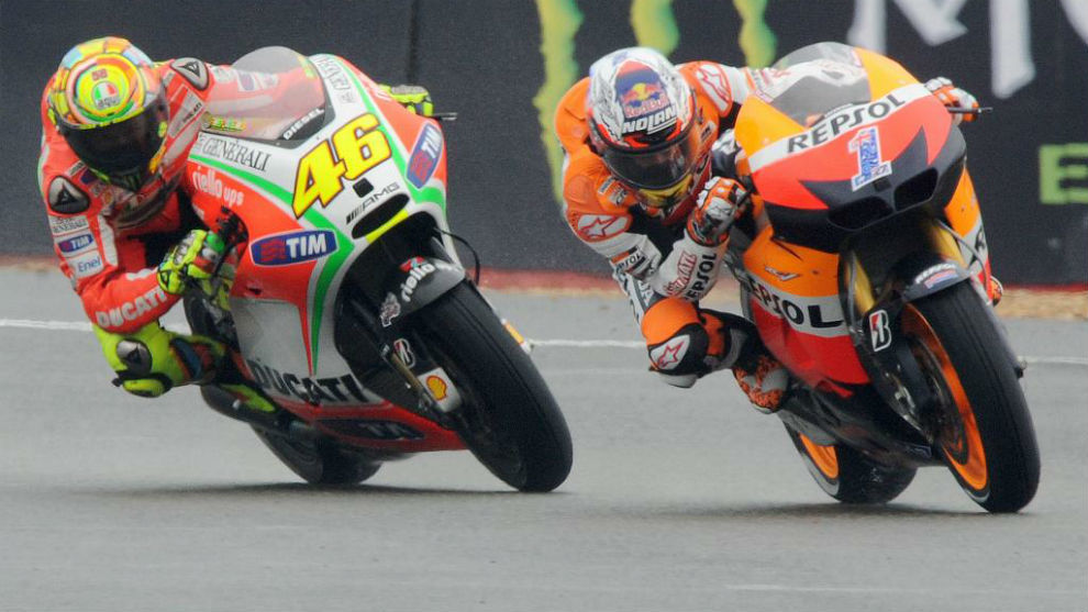 Rossi, con Ducati, y Stoner, con Honda, en 2012.