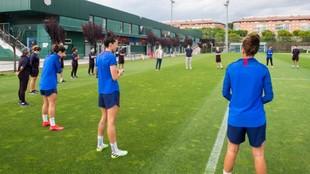 Las jugadoras del Barcelona entrenan en la Ciudad Deportiva en tiempos...