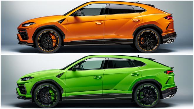 El Lamborghini Urus Pearl Capsule en color naranja y verde.