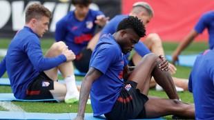 Thomas, en un entrenamiento del Atlético.