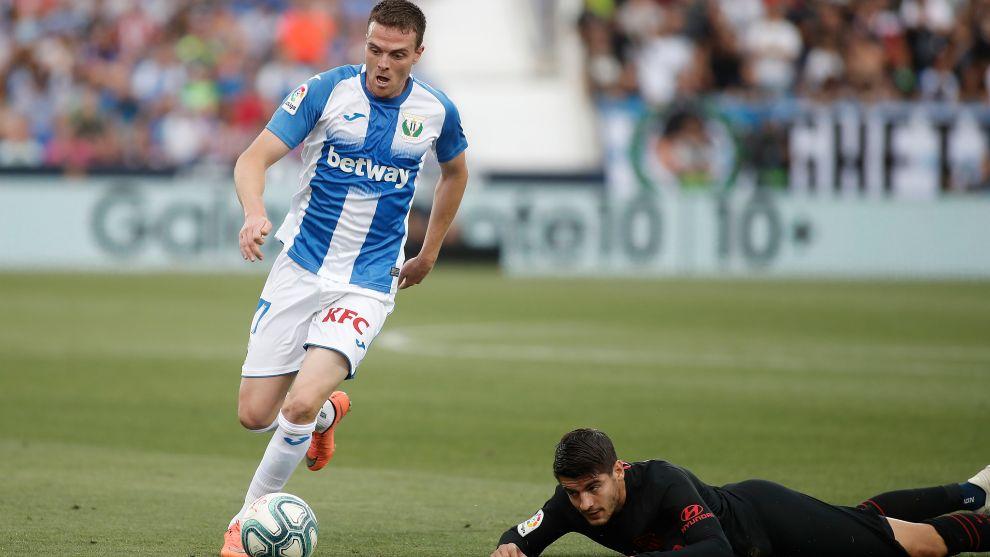 Javi Eraso durante un partido contra el Leganés