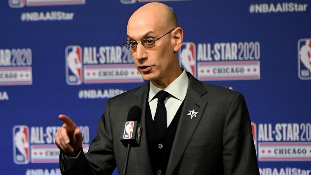 Adam Silver, comisionado de la NBA, durante una conferencia de prensa.