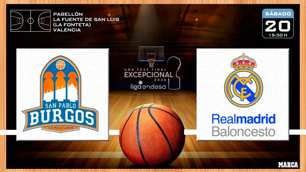San Pablo Burgos - Real Madrid: horario y dónde ver en TV el partido de la Fase Final ACB