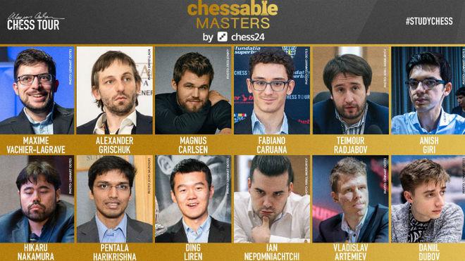 Los participantes en el Chessable Masters.