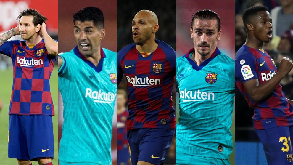 Messi, Suárez, Braithwaite, Griezmann y Ansu
