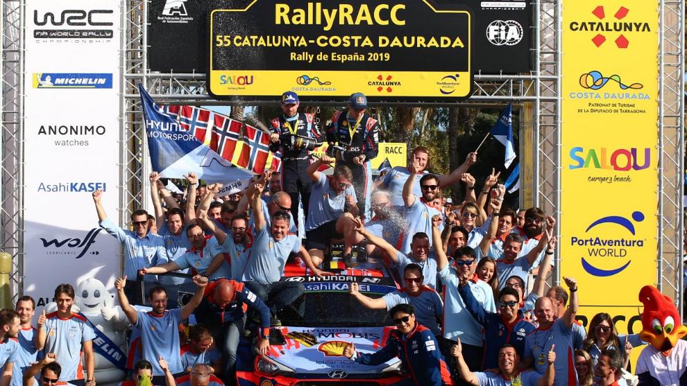 Neuville, tras ganar el Rally Cataluña 2019.