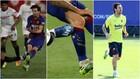 La entrada de Diego Carlos y cómo quedó la pierna de Messi.