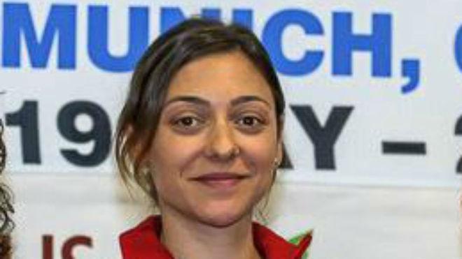 Bobana Velickovic, en el podio de una Copa del Mundo de tiro.