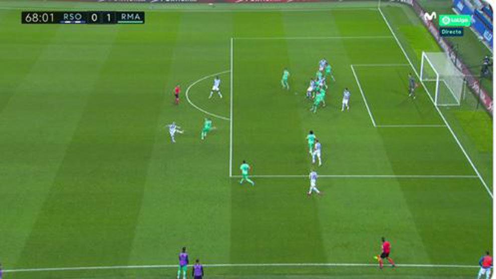El gol anulado a la Real por fuera de juego de Merino