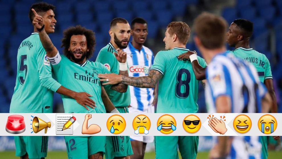 Los madridistas celebran un gol