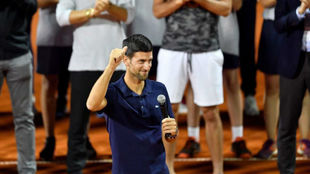 Djokovic habla a los asistentes del 'Adria Tour' en Belgrado