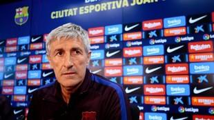 Quique Setién, en una rueda de prensa del Barcelona