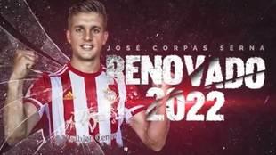 Imagen con la que el Almería ha anunciado la renovación de Corpas.