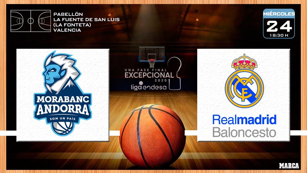 MoraBanc Andorra - Real Madrid: horario y dónde ver en TV hoy  el partido de la Fase Final ACB