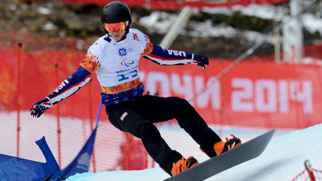 Evan Strong, en los Juegos Paralímpicos de Sochi en 2014.