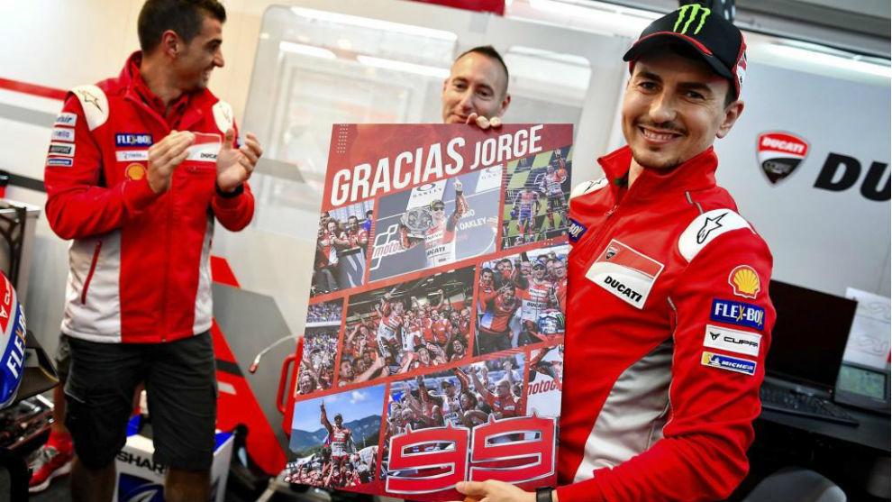 Jorge Lorenzo, en su despedida de Ducati a finales de 2018.