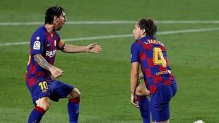 Messi y Rakitic, en el partido del Barcelona contra el Athletic.