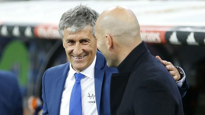 Setién saluda a Zidane en el Bernabéu en una imagen de archivo