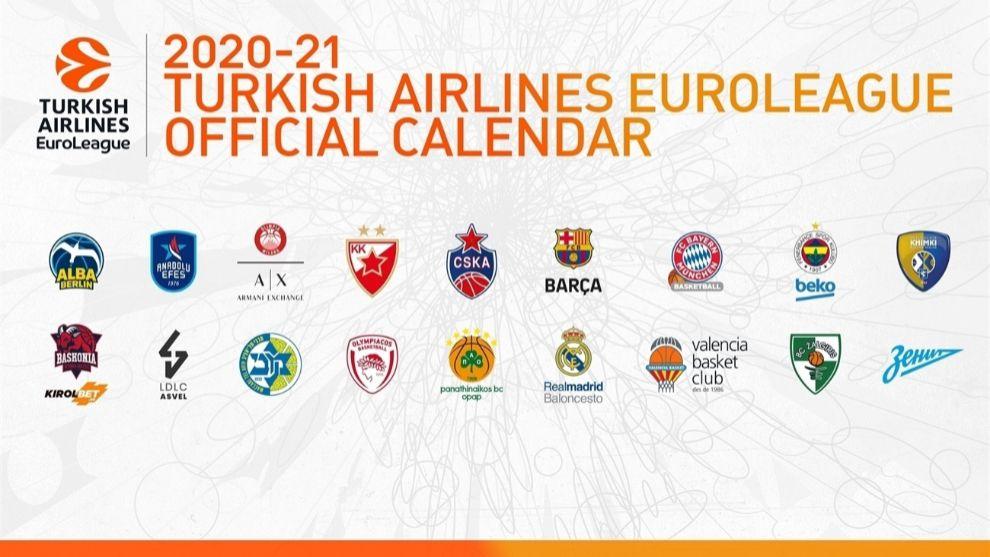 La Euroliga publica el calendario completo de la temporada 2020-2021