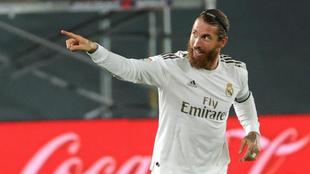 Sergio Ramos celebra su gol al Mallorca.