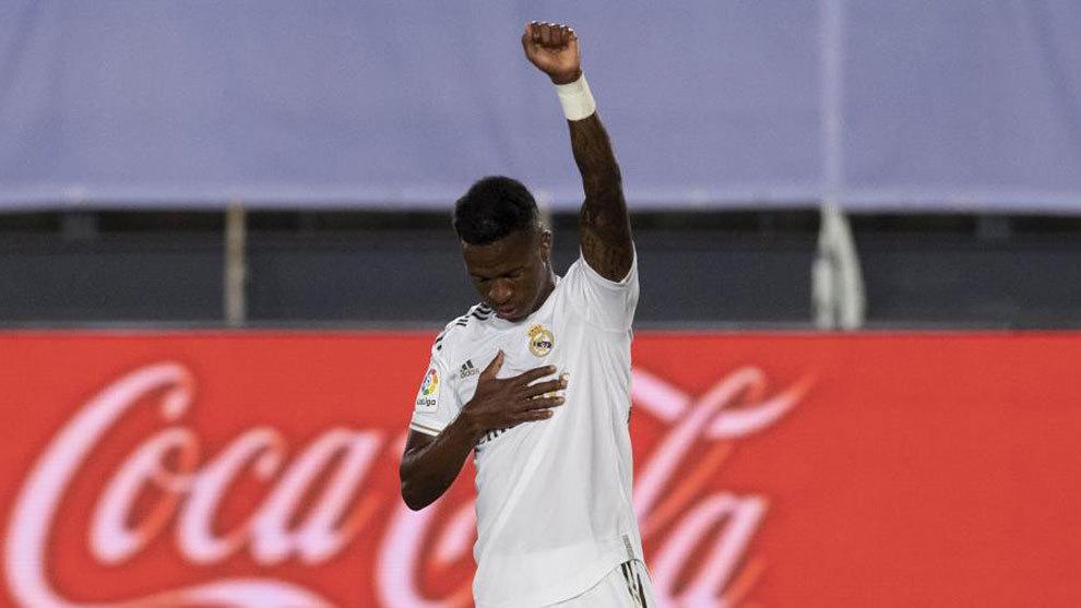 Vinícius, tras marcar el gol ante el Mallorca