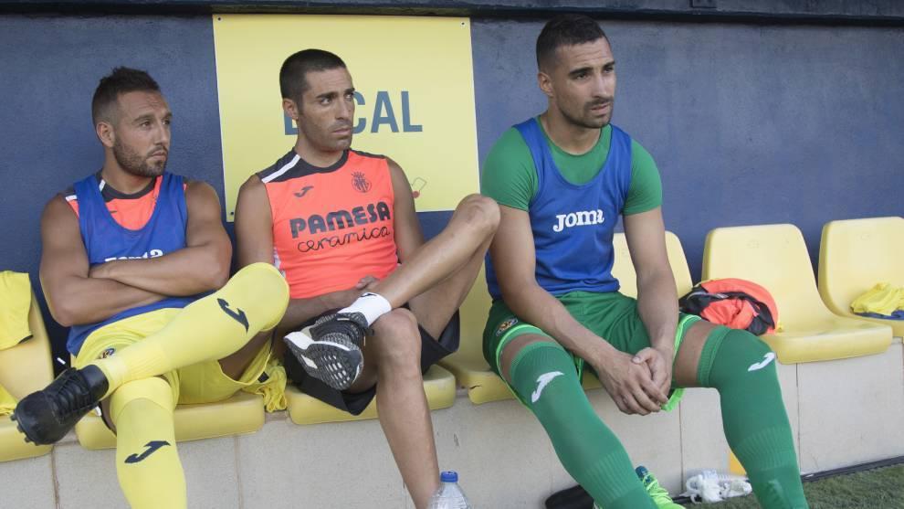 Cazorla, Bruno Soriano y Asenjo, en un entrenamiento con el Villarreal