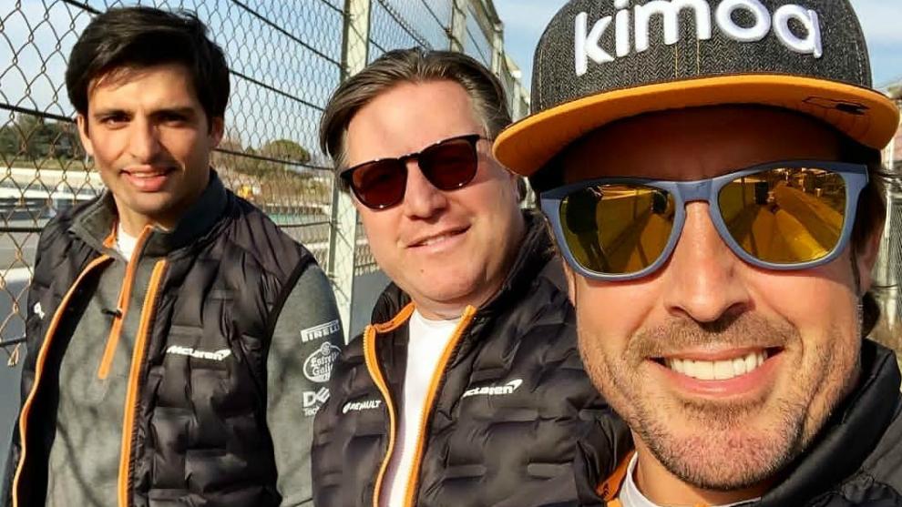 Alonso, Brown y Sainz.