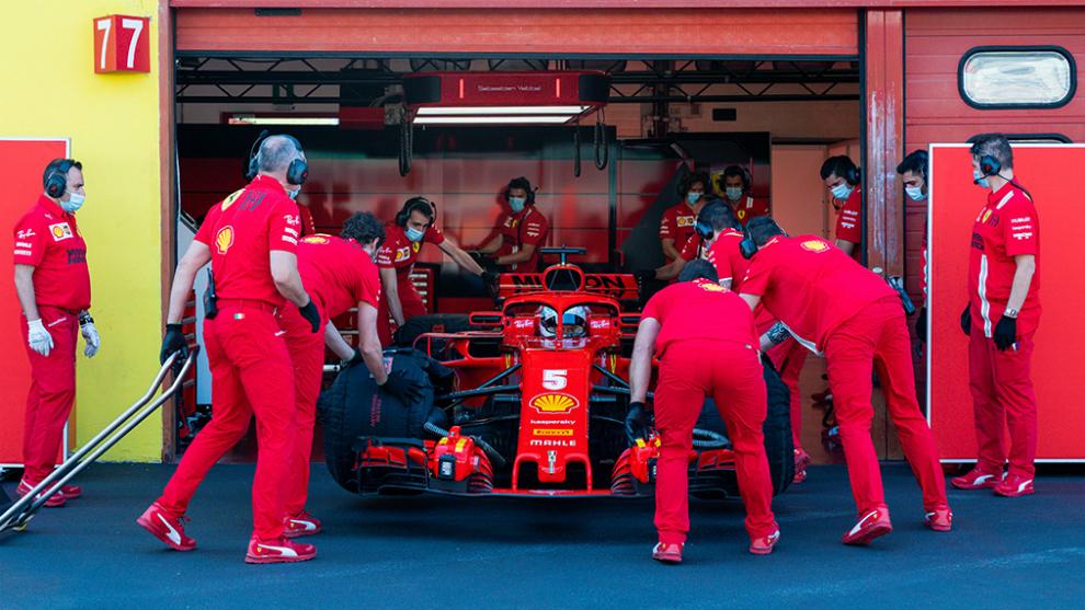 Vettel, durante el test de Ferrari en Mugello.