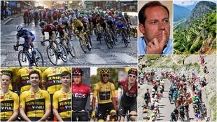 Montaje con imágenes y puertos del Tour de Francia, su director y los...