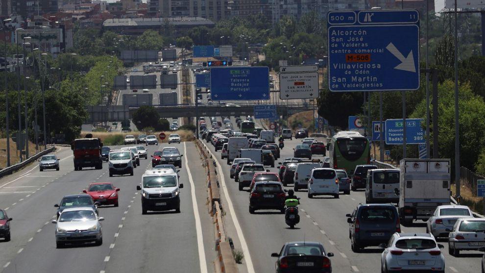 Una imagen del tráfico en Madrid hoy en la A-3