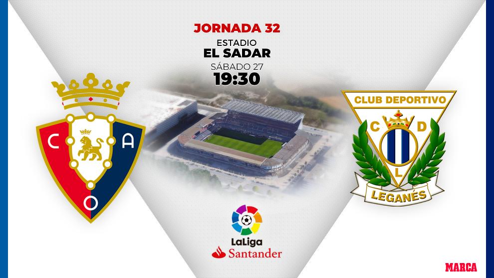 Alineaciones oficiales del partido Osasuna - Leganés,de la jornada 32