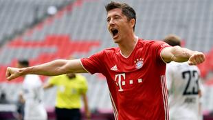 Robert Lewandowski en festejo con el Bayern.