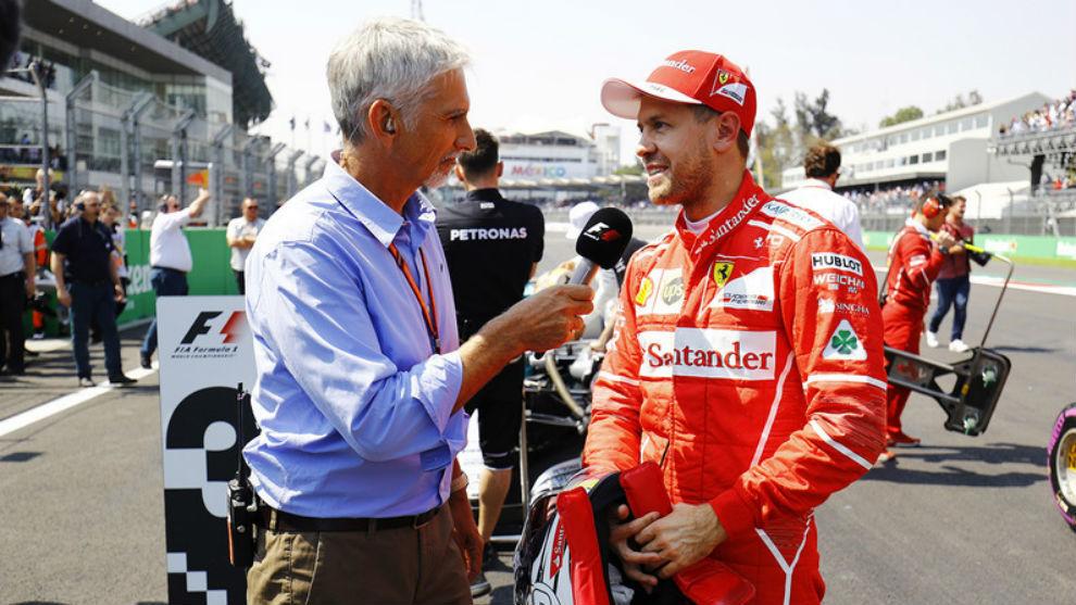 Damon Hill, entrevistando a Sebastian Vettel.
