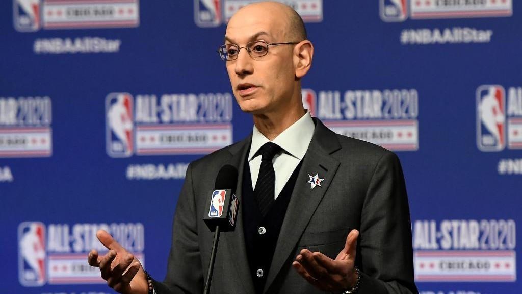 Adam Silver, comisionado de la NBA, durante una comparecencia de...