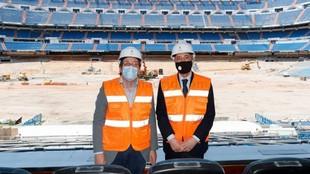 Florentino Pérez y Martínez Almeida, con las obras del Bernabéu de...