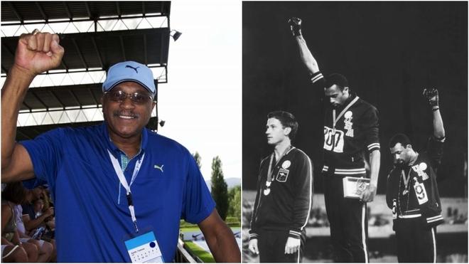 Tommi Smith repite el gesto que hizo en el podio de los Juegos de...