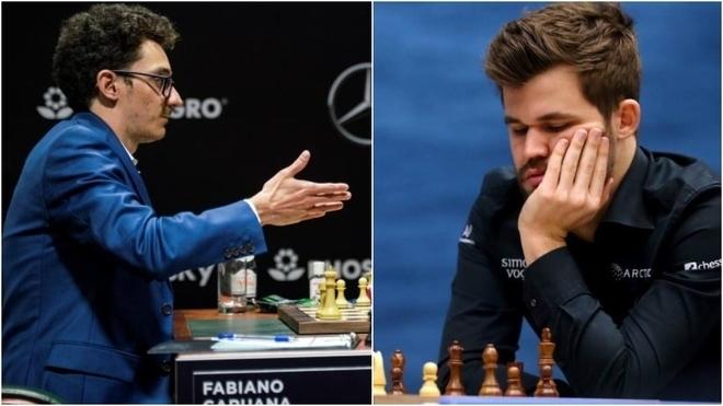 Fabio Caruana y Magnus Carlsen.