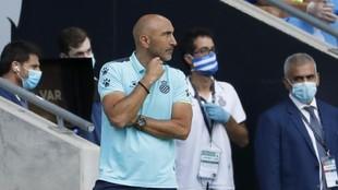 Abelardo, durante el encuentro contra el Alavés.