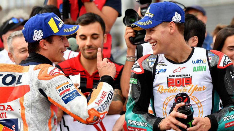 Fabio Quartararo y Marc Márquez, tras el GP de Japón 2019.