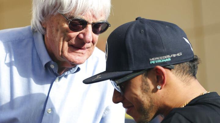 Lewis Hamilton y Bernie Ecclestone, en un Gran Premio de F1