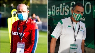 Los técnicos de Levante y Betis, con mascarilla