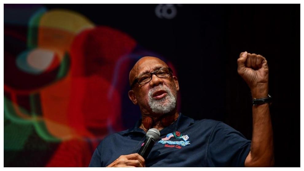 John Carlos, durante una conferencia en 2018