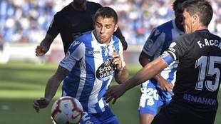 David Simón en un partido con el Deportivo