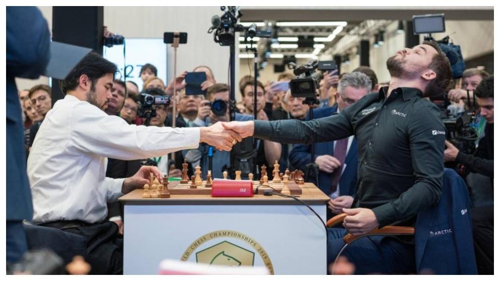 Nakamura y Carlsen, en una partida de 2019.