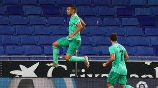 Casemiro, celebrando el gol del Madrid ante el Espanyol.