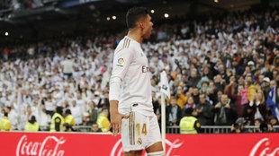 Casemiro, celebrando un gol ante el Sevilla.