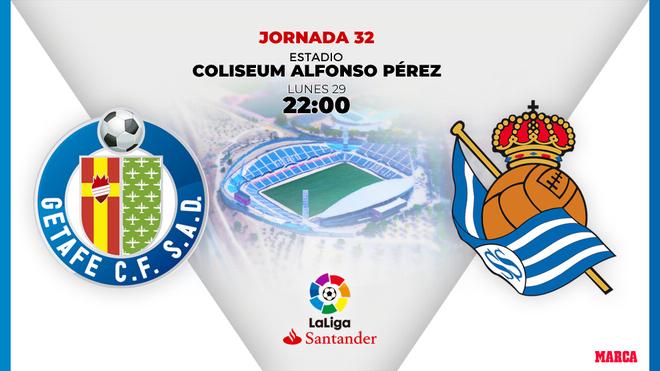 Getafe y Real Sociedad se enfrentan en la Jornada 32 de la Liga...